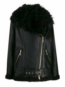 Amen faux fur aviator jacket - Black