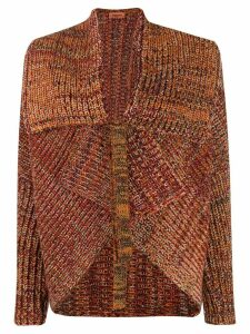 Missoni knitted asymmetric tied cardigan - ORANGE