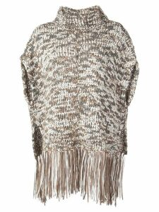 Brunello Cucinelli fringed knit top - Brown