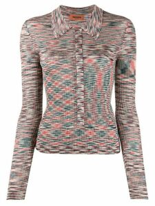 Missoni knitted stripe collared top