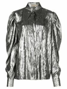Michael Kors puff sleeve metallic shirt - SILVER