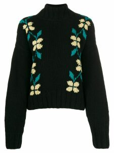 YMC intarsia floral sweater - Black
