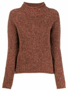 YMC turtleneck melange knit sweater - Brown