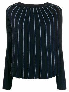 Semicouture pleated stripe jumper - Blue