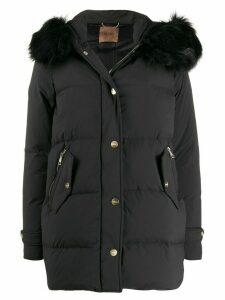 LIU JO faux fur trimmed padded coat - Black