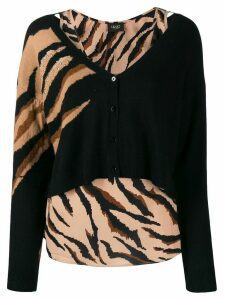 LIU JO layered style tiger print cardigan - Black