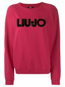 LIU JO textured logo print sweatshirt - PINK