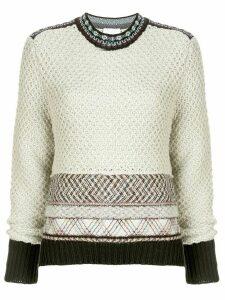 Mame Kurogouchi waffle knit jumper - White