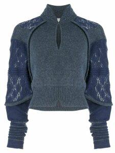 Mame Kurogouchi contrast knit jumper - Blue
