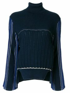 Mame Kurogouchi Hamaguri striped-sleeve jumper - Blue