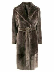 Desa 1972 belted shearling coat - Grey