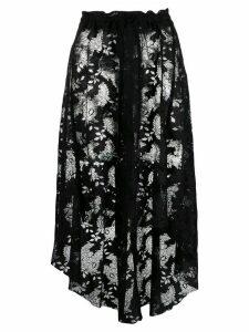Ann Demeulemeester asymmetric lace-detail skirt - Blue