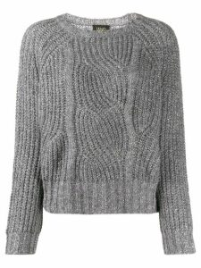 LIU JO metallic relaxed-fit jumper - SILVER