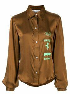 Ground Zero graphic print silk shirt - Brown