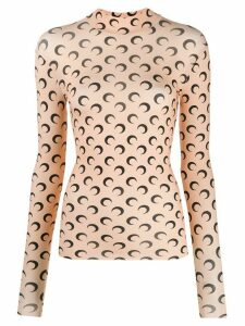Marine Serre moon print slim-fit sweatshirt - NEUTRALS