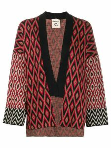 Semicouture diamond pattern knit cardigan - Black