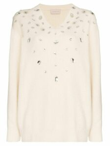 Christopher Kane crystal embellished jumper - White