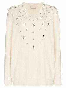 Christopher Kane crystal embellished jumper - White