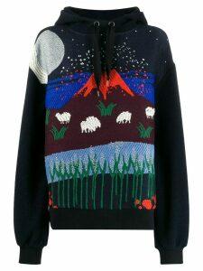 Henrik Vibskov embroidered volcano hoodie - Blue