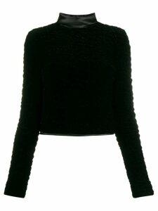Saint Laurent textured velvet top - Black