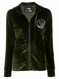 Plein Sport Tiger velvet zip-up hoodie - Green