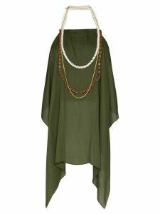 Jacquemus beaded open-back halterneck blouse - Green