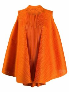 Pleats Please Issey Miyake tie-fastening micro-pleated top - Orange