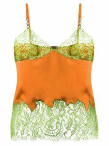 Versace lace-trimmed cami top - ORANGE