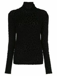 Caroline Constas animal-texture turtleneck top - Black