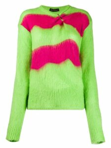 Versace safety-pin striped knitted sweater - Green