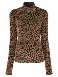 Caroline Constas animal-texture turtleneck top - Black
