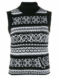 Versace intarsia fair isle jumper - Black
