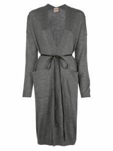 Nude melange tie waist cardigan - Grey