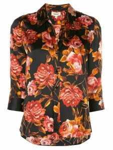 L'Agence floral-print silk shirt - Black