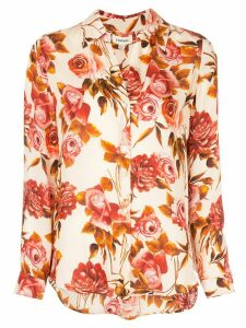 L'Agence floral-print silk shirt - PINK