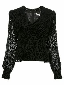 Veronica Beard Giacomo leopard-print velvet blouse - Black