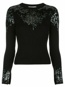 Jonathan Simkhai sequin-embellished ribbed jumper - Black