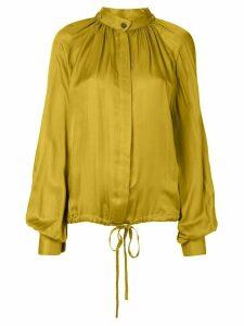 Ann Demeulemeester long-sleeved drawstring-hem blouse - Yellow