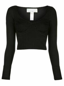 Fleur Du Mal long-sleeve knit bra top - Black