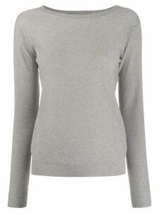D.Exterior metallic boat neck jumper