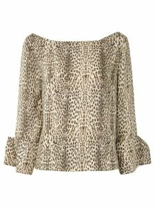 Gloria Coelho leopard print boat neck blouse - Multicolour
