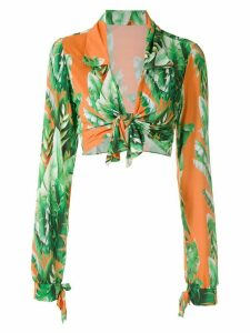 Amir Slama printed crop top - ORANGE