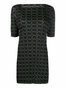 Pleats Please Issey Miyake square-print plissé tunic - Black