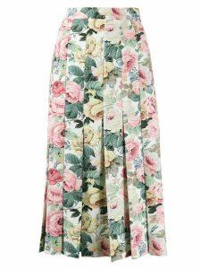 Vivetta rose print pleated skirt - White