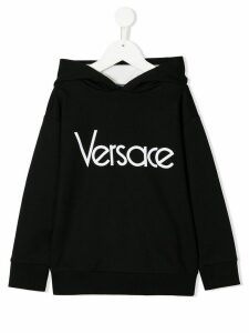 Young Versace logo print relaxed-fit hoodie - Black