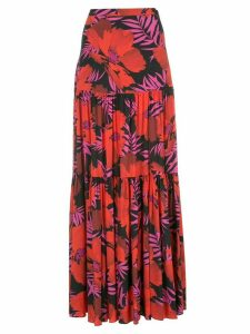 Veronica Beard Serence Poppy-print maxi skirt - Red