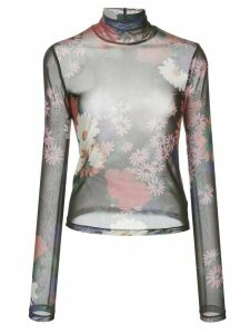 Staud Mick floral-print sheer blouse - Black