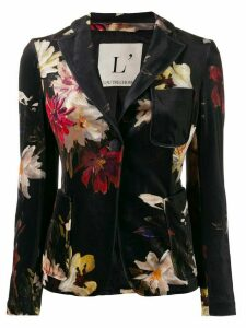 L'Autre Chose single breasted floral pattern blazer - Black