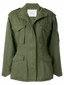 pushBUTTON cut out cargo jacket - Green