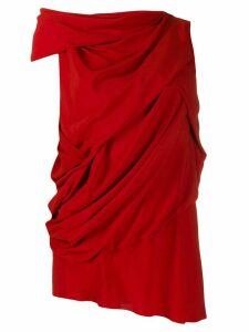 Rick Owens asymmetric draped blouse - Red